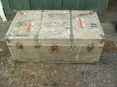 Antique Steamer Travel Trunk Metal, Stainless Steel ? TAI WO
