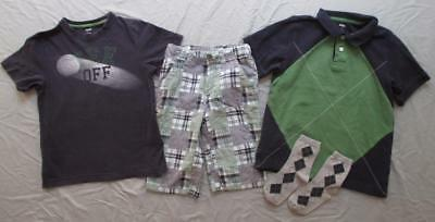 Gymboree boy 7 8 GOLF PRO Spring Social polo top tee plaid shorts set EUC VGUC