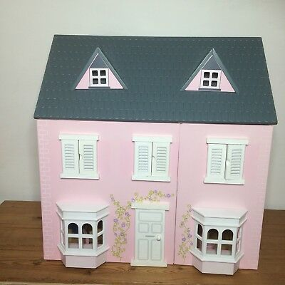 Rosy Cottage Wooden Dolls House Pink 4 Furniture Traditional