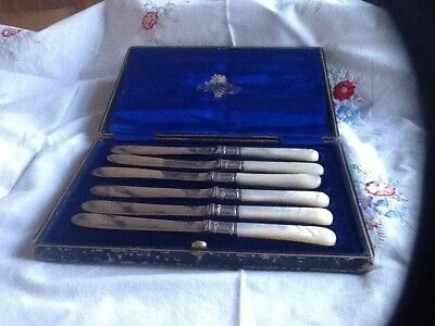 Beautiful Victorian Silver and Mother Of Pearl Butter Knives