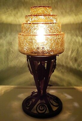 Art Deco Table Lamp With Amber Crackle Shade