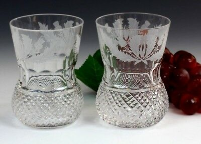 TWO Edinburgh Crystal Thistle Old Fashioned Whisky Tumbler 4 Inch First Quality