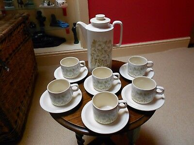 Vintage Hornsea Pottery Fleur Coffee Pot, 6 Cups and Saucers