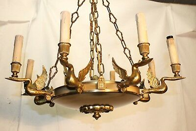 XL EMPIRE vintage antique  chandelier 8 lights SWANS metal bronze L40