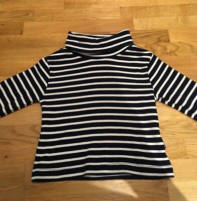 JoJo Maman Bebe Roll Neck Stripy Top 12-18 Months Excellent Condition