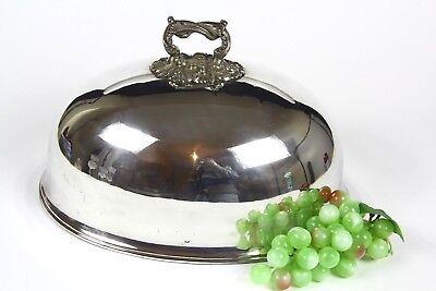 "Victorian Silver Plated Large Meat Dome,turkey Cloche Lid 14"" X 10.5 "" X 9"""
