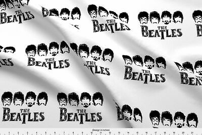 Outline The Beatles John Lennon Paul Mccartney Fabric Printed by Spoonflower BTY