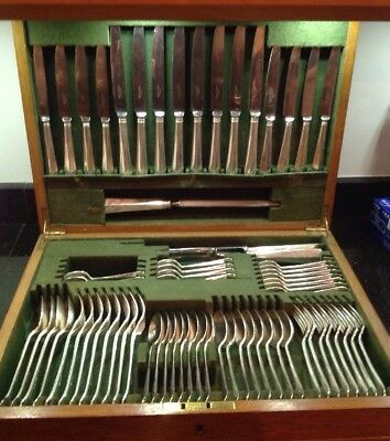 Vintage Silver Plated Canteen Cutlery Rattail Design 8 Place 68 Piece Moseley