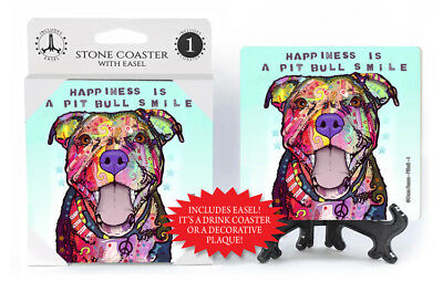 Pit Bull Happiness Is A Pit Bull Smile Dog Dean Russo Drink Coaster