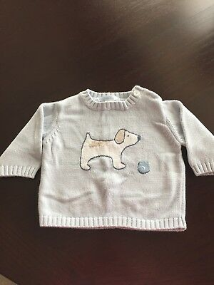 Janie And Jack Blue Cotton Dog Sweater 3 To 6 Mo