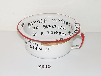 Vintage Enamelware Handled Chamber Thunder Pot Red Trim With Cute Sayings