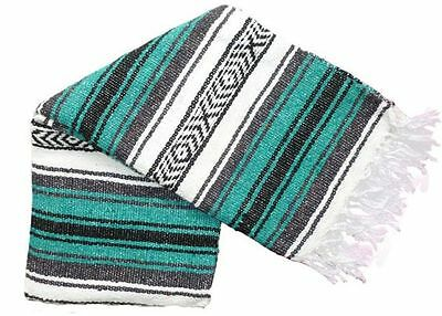 #11 Teal Classic Mexican Falsa Blanket Yoga Woven Throw Serape Mexico Authentic