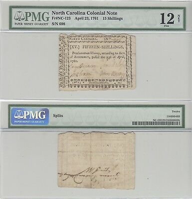 23 April 1761 Fifteen Shilling North Carolina Colonial Currency Fine 12 Net