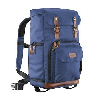 Mantona Luis retro-look camera backpack with genuine leather trim for 1 DSLR ca