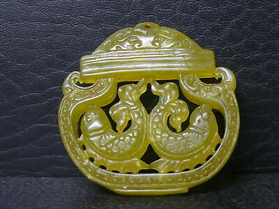 (dLB58)   Beautiful Vintage  Hand Carved  Two faces Jade  Pendant