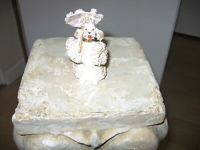 Vintage 1950's Ceramic Spaghetti Poodle With Parasol, Excellent
