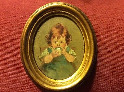 Vintage Small Oil Painting Of A Young Child -Gilded Oval Wooden Frame - Florence