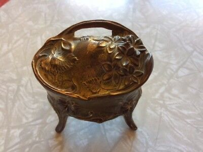 Victorian Floral Gilt Gold Casket Jewelry Box Art Metal Wares Marked 1107
