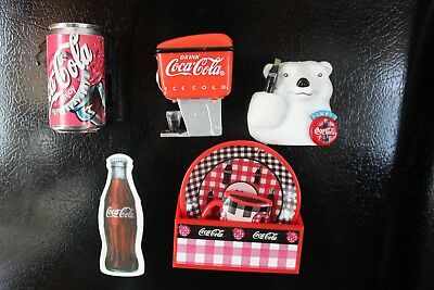 5 Coca-Cola Refrigerator Magnets.. Fountain Machine..Sound Magnet, Polar Bear