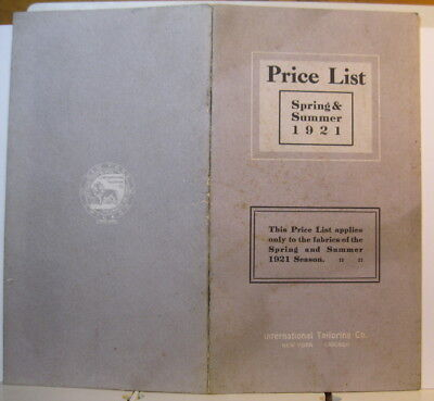 1921 International Tailoring Co. NY Chicago Price List Belts Suits Coats Caps