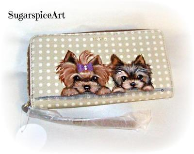 Yorkie Hand Painted Zippered Spring Wallet by SugarspiceArt