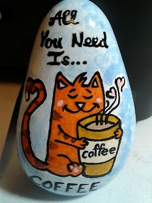 Cat With Coffee Original Hand Painted Rock Stone Art By Suzanne Foster