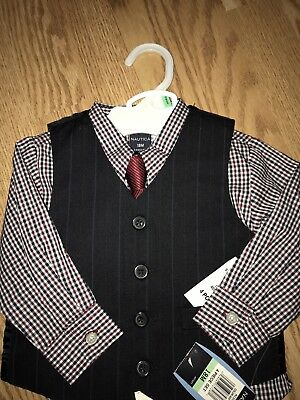 NWT Nautica 4 Piece Boys Vest/Suit Set Navy 18 Months