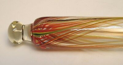 Antique Hand Blown Glass Rolling Pin with Red, Yellow and Green Swirls