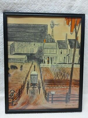 Framed Glass Amish Art Drawing Lancaster,PA Signed by Florence Starr Taylor 1964