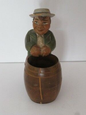 Vintage ANRI Carved Man w/ Barrel for Cigarettes Matches or Toothpicks Italy