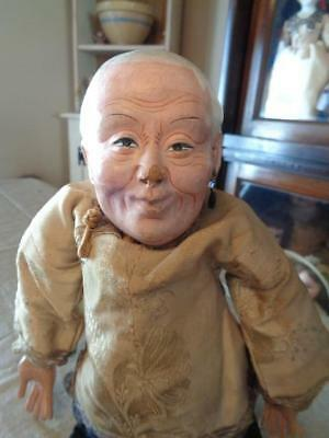 "Vintage/Antique Composition & Cloth  Chinese Doll~Elderly Man~12.5""~TLC~#2"