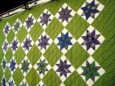 Antique Vtg Early 1900's 1910's Eight point star Quilt Green hand quilted