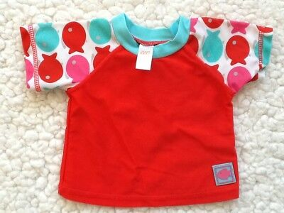 Giggle Baby Red Rash Guard Swim Top 6 12 Months Red Fishy Teal White Short Sleev