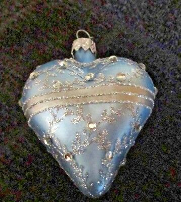 Vintage Dept 56 Glass Fancy Heart Christmas Ornament Poland