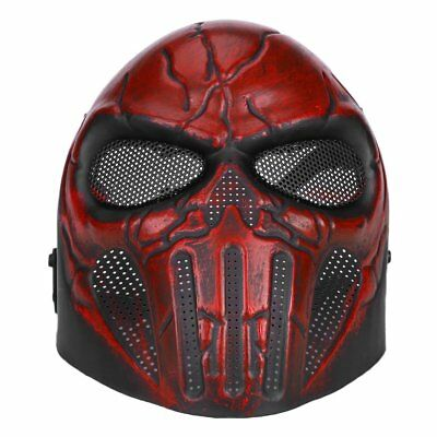 Tactical Full Face Paintball Skull Mesh Safety Protection Mask Goggles Red