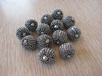 Vintage Cut Steel Beaded Buttons Lot of 13 Matching Round Buttons