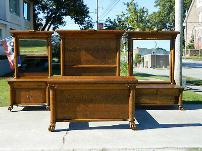 3 Piece Victorian Tiger Oak Bedroom Set~Bed~Dresser~Washstand circa 1900