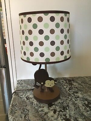 Monkey Nursery Lamp in green, brown and tans, jungle , monkey theme  decor