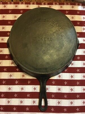Vtg. Sidney Hollow Ware #9 Cast Iron Skillet With Heat Ring Pre Wagner