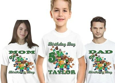 Minecraft Birthday Shirts T Shirt T-Shirt Party Family Custom Decorations Kids