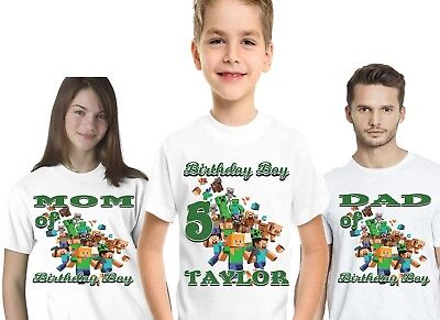 Minecraft Birthday T-shirt Party Decor Tees Personalized Name Age Kids Favor