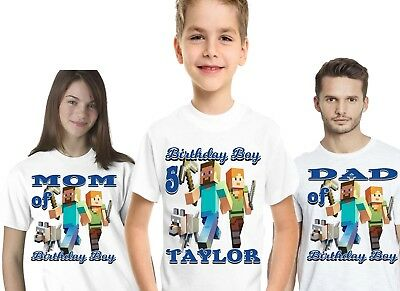 Minecraft Birthday Shirts T Family Personalized Name Age Gift Shirt Party