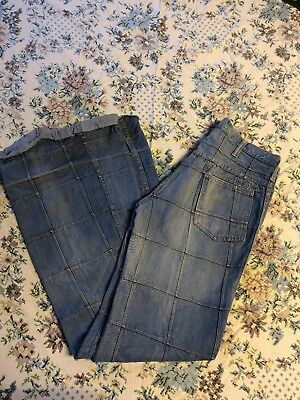 Vtg Patch Bell Bottoms Long 32 - 33