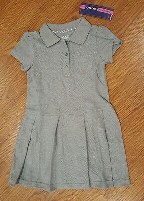 NEW Girls Cherokee School Uniform Polo Collared Dress Gray 5T 5