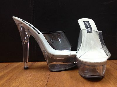 "Stiletto,pole or fitness shoes. Clear 6"" heel with 2"" clear platform. SIZES 7-13"