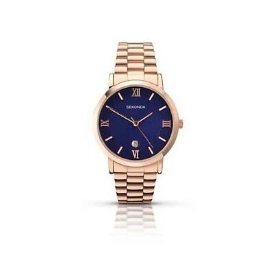 Sekonda 39mm Gents Rose Gold Watch With Blue Dial Roman Numerals SK1090