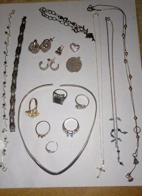 Sterling silver jewelry lot rings, necklaces, bracelets & more 18 pc not scrap