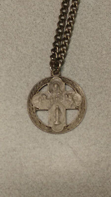 """VINTAGE SILVER CROSS PENDANT RELIGIOUS CATHOLIC  STERLING with 24"""" CHAIN"""