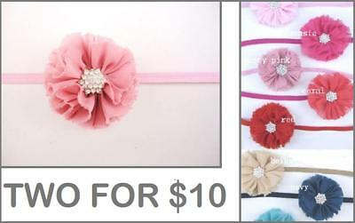 Baby Headband Girl Adult Chiffon Flower Thin Elastic Diamante Hair Head Band