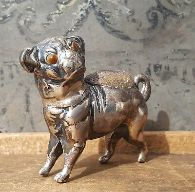 Antique Sydney & Co. Sterling Silver Pin Cushion Edwardian Pug Dog Bulldog